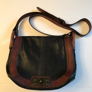 FOSSIL Reissue Black Brown Leather Saddle Bag.